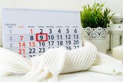 9 januari Dag 9 van maand op witte kalender Royalty-vrije Stock Fotografie