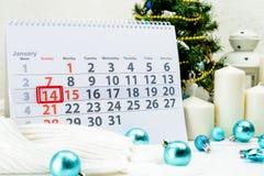 14 januari Dag 14 van maand op witte kalender Stock Afbeelding