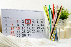 3 januari Dag 3 van maand op witte kalender Royalty-vrije Stock Afbeelding