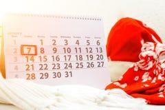 7 januari Dag 7 van maand op witte kalender Concept Vrolijk Stock Afbeeldingen