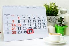 31 januari Dag 31 van maandkalender Stock Foto