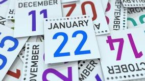 Januari 22 datum på den betonade kalendersidan, tolkning 3D royaltyfri illustrationer