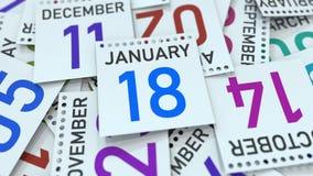 Januari 18 datum på den betonade kalendersidan, tolkning 3D stock illustrationer