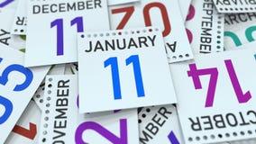 Januari 11 datum på den betonade kalendersidan, tolkning 3D stock illustrationer