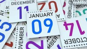 Januari 9 datum på den betonade kalendersidan, tolkning 3D vektor illustrationer