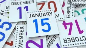 Januari 15 datum på kalenderbladet bland andra sidor, tolkning 3D vektor illustrationer