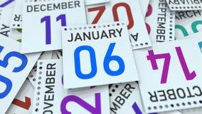 Januari 6 datum på kalenderbladet bland andra sidor, tolkning 3D royaltyfri illustrationer