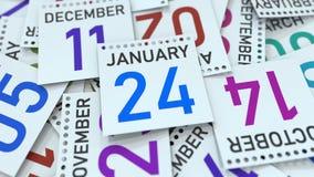 Januari 24 datum p? kalenderbladet framf?rande 3d vektor illustrationer
