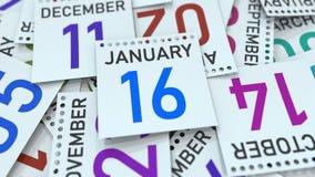 Januari 16 datum p? kalenderbladet framf?rande 3d vektor illustrationer