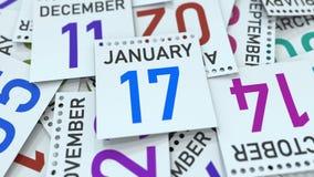 Januari 17 datum p? kalendersidan framf?rande 3d stock illustrationer