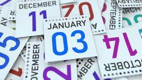 Januari 3 datum p? kalendersidan framf?rande 3d royaltyfri illustrationer