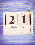 21 januari Datum van 21 Januari op houten kubuskalender Stock Foto