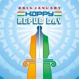 26 Januari de Dag van de Republiek van India Stock Foto