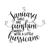 Januari-de meisjes zijn zonneschijn met een kleine orkaan wordt gemengd die vector illustratie