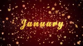 Januari-de tekst glanzende deeltjes van de Groetkaart voor viering, festival stock illustratie