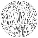 Januari färgläggningsidor för ungar stock illustrationer