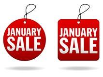 januari försäljningsetiketter royaltyfri illustrationer