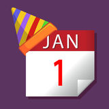 Januari första för nytt år kalender stock illustrationer