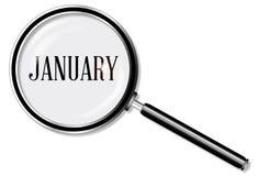 Januari förstoringsglas vektor illustrationer