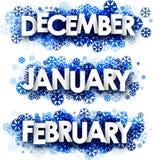 Januari Februari, December baner vektor illustrationer