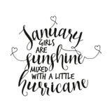 Januari flickor är solsken blandat med lite orkan vektor illustrationer