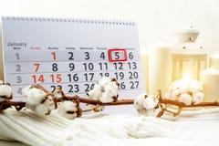 Januari 5h Dag 5 van maand op witte kalender Royalty-vrije Stock Afbeeldingen