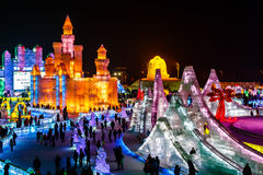 Januari 2015 - Harbin, China - Internationaal Ijs en Sneeuwfestival stock fotografie