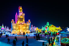 Januari 2015 - Harbin, Kina - internationell is och snöfestival Royaltyfria Bilder