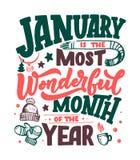 Januari inspirerande citationstecken Typografi för kalender eller affisch, inbjudan, hälsningkort eller t-skjorta Vektorbokstäver vektor illustrationer