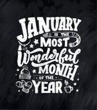 Januari inspirerande citationstecken Typografi för kalender eller affisch, inbjudan, hälsningkort eller t-skjorta Vektorbokstäver royaltyfri illustrationer