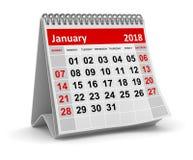 Januari 2018 - kalender vektor illustrationer