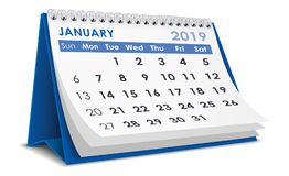 Januari 2019 kalender royaltyfri illustrationer
