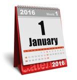 Januari 2016 kalender royaltyfri illustrationer