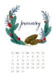 Januari kalender royaltyfri illustrationer