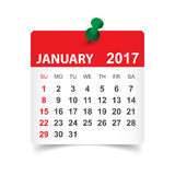 Januari 2017 kalender vektor illustrationer