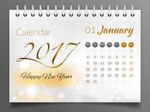Januari 2017 Kalender 2017 Royaltyfri Bild