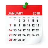 Januari 2018 - kalender royaltyfri illustrationer
