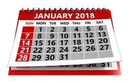 Januari 2018 kalender royaltyfri illustrationer