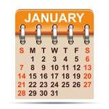 Januari kalender av 2018 år - stock illustrationer