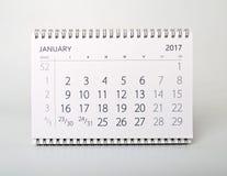 januari Kalender av året tvåtusen sjutton Royaltyfri Fotografi