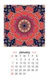 januari Kalender för 2018 år på indisk dekorativ bakgrund mandala Royaltyfria Bilder