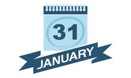 31 Januari kalender med bandet Royaltyfri Foto