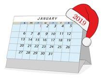 Januari 2019 kalender Med en julhatt lyckligt nytt år stock illustrationer