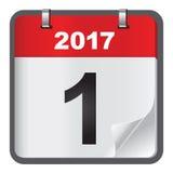 1 Januari-kalender op witte achtergrond Royalty-vrije Stock Foto