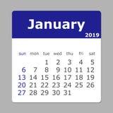 Januari 2019 kalender Veckan startar söndag Lager som grupperas för e vektor illustrationer