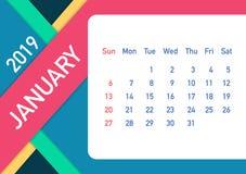 Januari 2019 kalenderblad Kalender 2019 i plan stil Format A5 också vektor för coreldrawillustration royaltyfri illustrationer