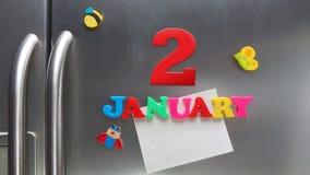 2 januari kalenderdatum met plastic magnetische brieven wordt gemaakt die Stock Foto
