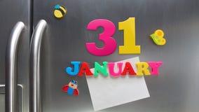 31 januari kalenderdatum met plastic magnetische brieven wordt gemaakt die Royalty-vrije Stock Foto