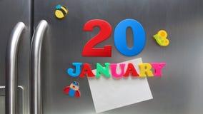 Januari 20 kalenderdatum som göras med plast- magnetiska bokstäver Royaltyfria Foton
