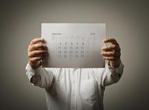 Januari-kalenderlijst van het jaar twee duizend zestien Royalty-vrije Stock Afbeeldingen